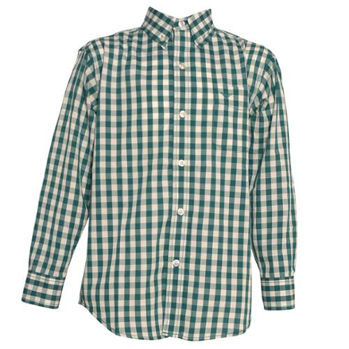 Big Boys Green Plaid Button Down Straight Collar Long Sleeve Shirt 8