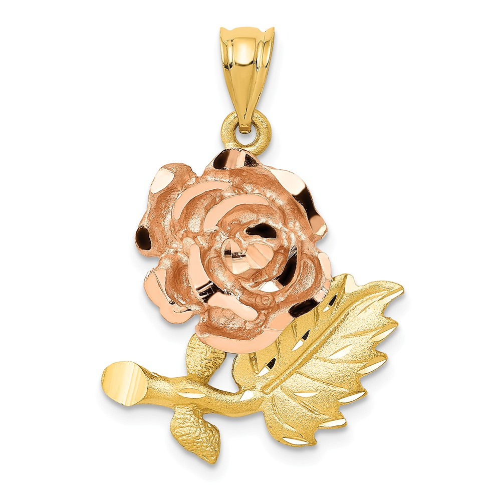 14k Two Tone Gold Solid Satin D/C Flower Pendant