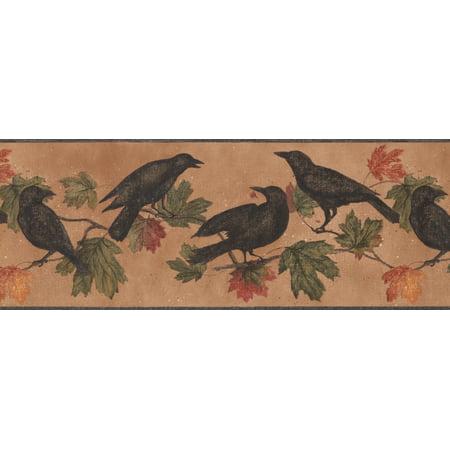 Black Birds on Branch Green Yellow Red Leaves Dark Orange Vintage Wallpaper Border Retro Design, Roll 15' x 9 - image 2 de 3