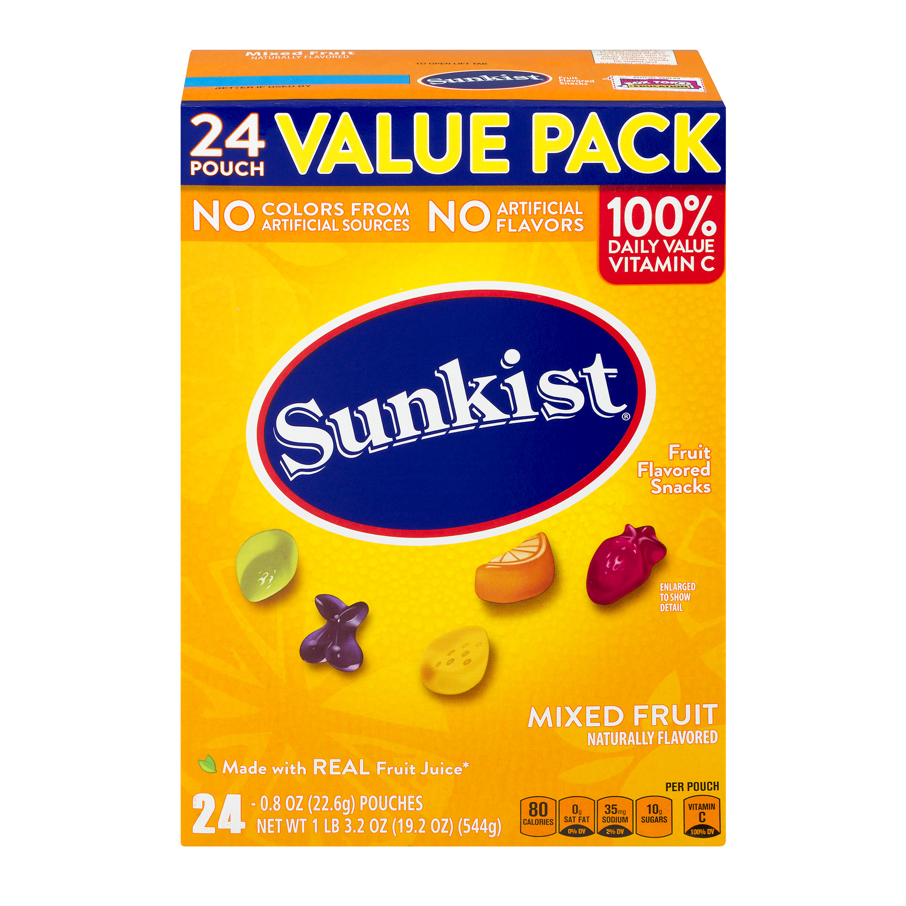 Sunkist Mixed Fruit Value Pack Pouches, 19.2 Oz., 24 Count