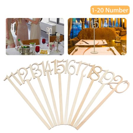 Wooden Wedding Table Numbers 1-20 Pack, Large Extra Thick Heavy Duty Commercial Grade Quality - Natural Wood for Receptions, Banquets, Cafes, Restaurants, Hotels, Parties