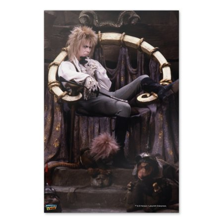 Goblin King Jareth From The Labyrinth Sitting On Throne David Bowie Home Business Office Sign - Poster - 24