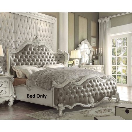 Versailles Collection 21144Ck California King Size Panel Bed With Vintage Grey Pu Leather Upholstery  Wingback Button Tufted Headboard And Nail Head Trim In Bone White Finish