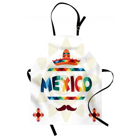 Mexican Apron Mexico Traditional Aztec Motifs and Sombrero Straw Hat and Moustache Graphic Print, Unisex Kitchen Bib Apron with Adjustable Neck for Cooking Baking Gardening, Multicolor, by Ambesonne