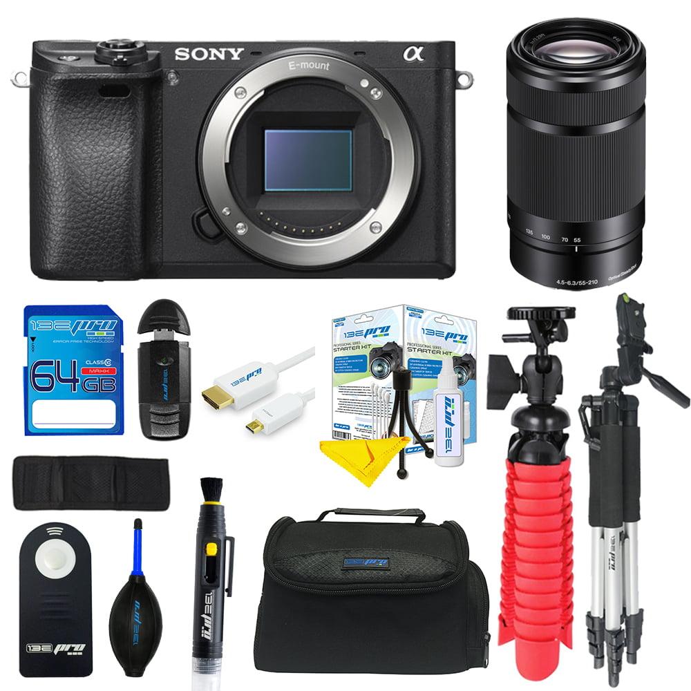 Sony Alpha a6300 Mirrorless Digital Camera + Sony E 55-210mm f/4.5-6.3 OSS Lens + SD Card + Tripod + Pixi Advanced Bundle Kit