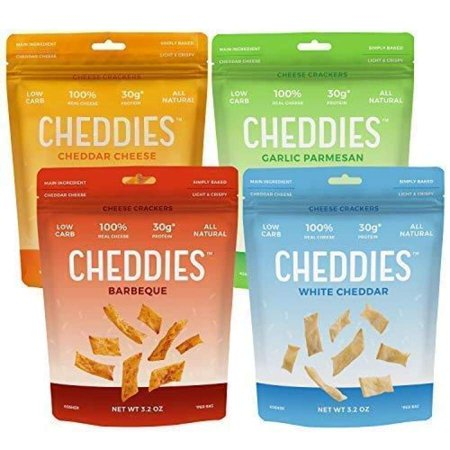 Cheddies High Protein Low Carb Cheese Crackers - 4 Flavor Variety