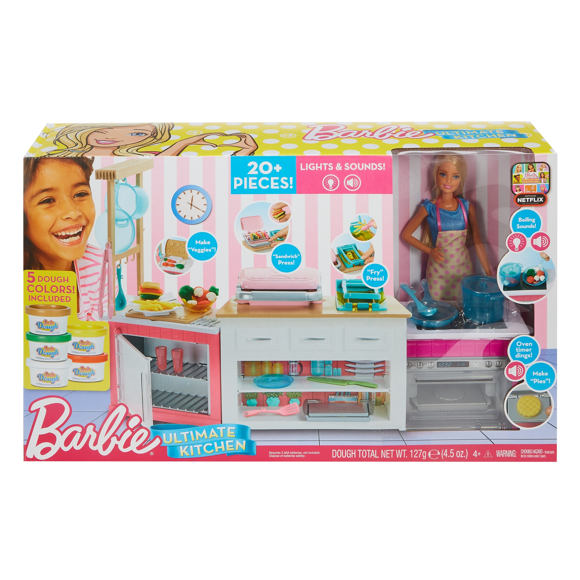 Barbie Ultimate Kitchen Cooking Baking Playset With Chef Doll