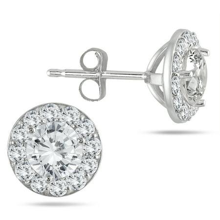 1 Carat TW Diamond Halo Earrings in 14K White Gold