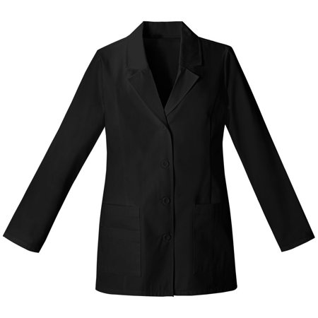 Coat Black Short Sleeve Buttons - Panda Uniform Made To Order 29-Inches Women's Missy Fit Multi Pocket 4 Button Full Sleeves Short Medical Lab Coat