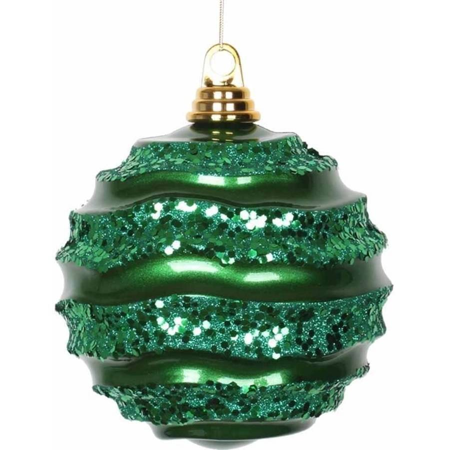 "Vickerman 6"" Candy with Glitter Wave Ball Christmas Ornament"