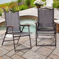 Gymax Set of 2 Folding Patio Furniture Sling Back Chairs Outdoors Gray