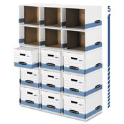 Bankers Box File/Cube Box Shell, Legal/Letter, 12 x 15 x 10, White/Blue -FEL0162601