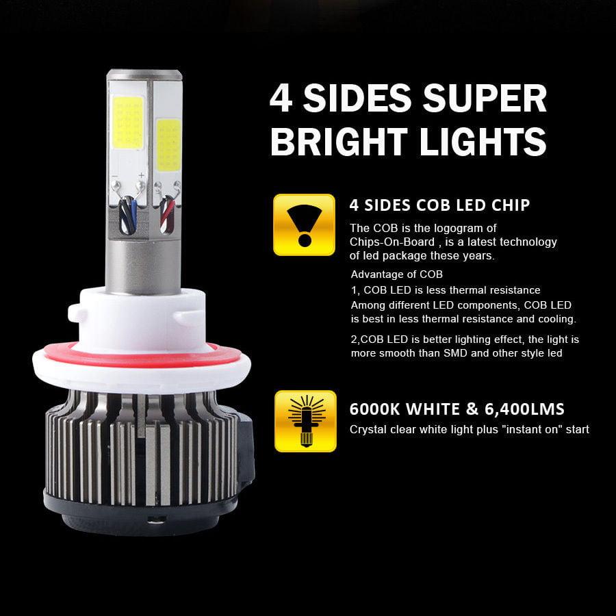 120W 12800lm 4 Sides COB LED Headlight Kits H4 9003 HB2 Hi//Low Beam 6000K Bulb A