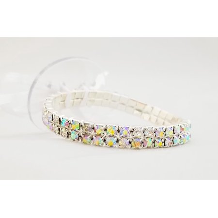 Floral Corsage Bracelet in Iridescent, Rhinestone Paris Lights (Iridescent Bead Bracelets)