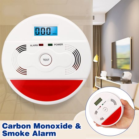 2 in 1 Combination LCD Carbon Monoxide & Smoke Detector Fire Sensor Alarm Flash & Beep Alarm Combo Warning Sensor Tester Smart Prompt Battery Operated with Digital Display