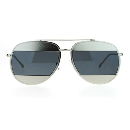 SA106 Retro Unique Cropped Blinder Lens Aviator Sunglasses Silver (Sunglasses With Blinders)