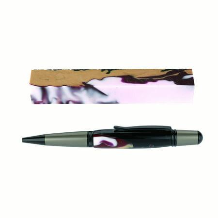 Fan Favorite Acrylic Pen Blank, White Garnet Gold and Black