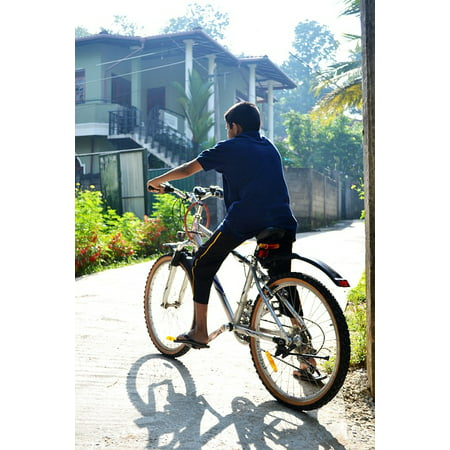 Canvas Print Morning Sport Back Light Bicycle Boy Road Stretched Canvas 10 x