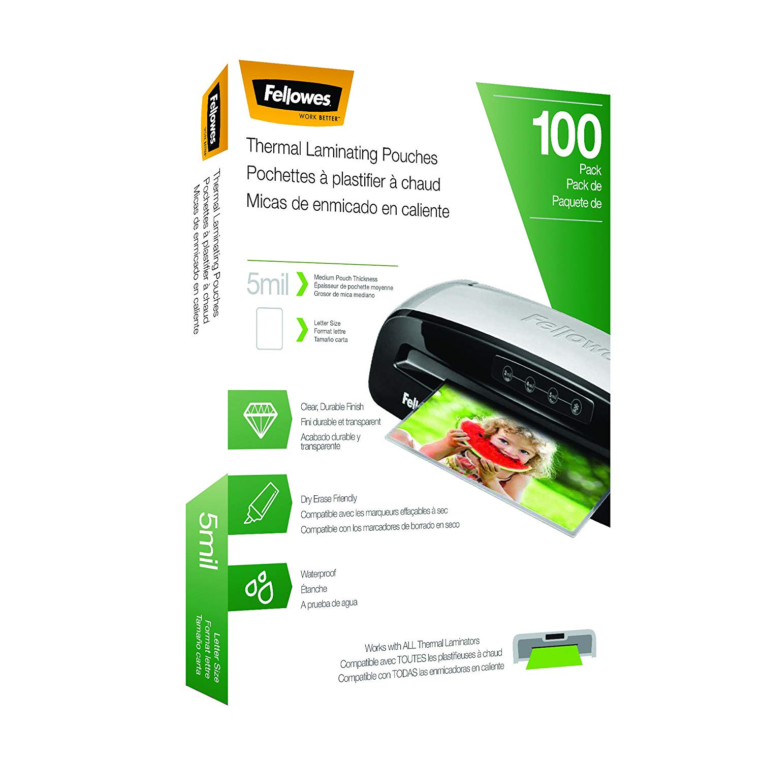 Fellowes Thermal Laminating Pouches, 100 Pk.