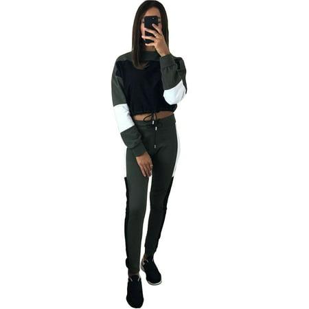 Women's Clothing Women Ladies Jogging Tracksuit Set Crop Tops+pants 2pcs Lounge Wear Casual Suit