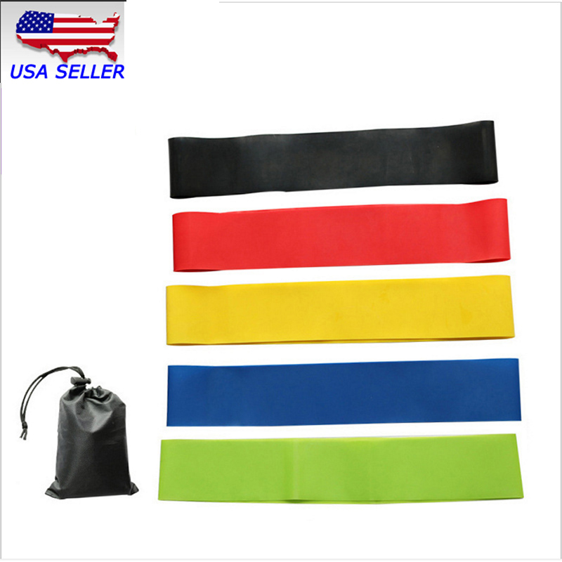 Techtonqda Set Of 5 Resistance Band for Yoga & Pilates Fitness Workout