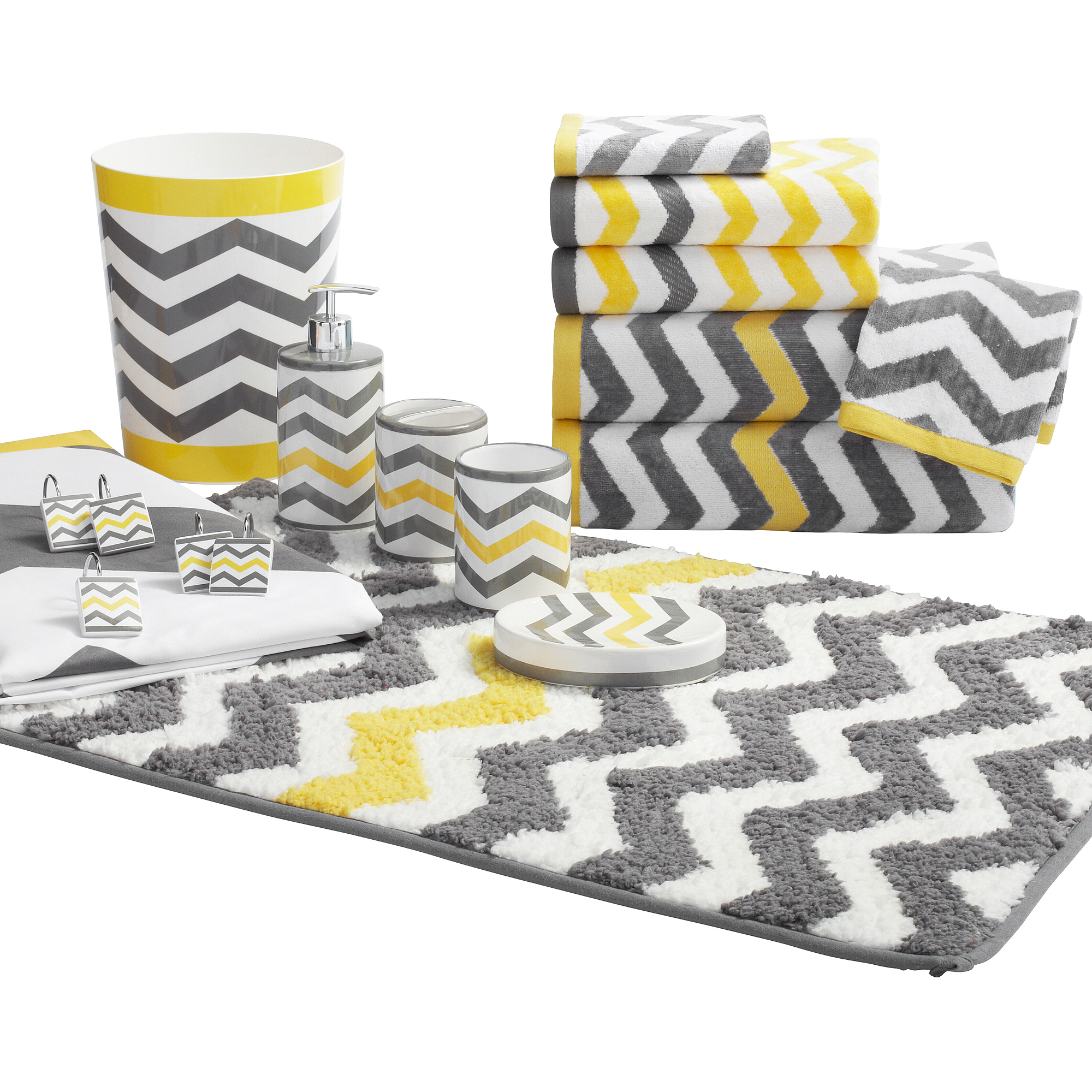 Mainstays Chevron Decorative Bath Towel Collection Walmartcom - Yellow bath towels for small bathroom ideas