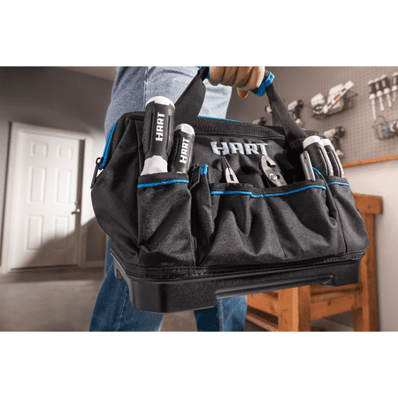 HART 14-inch Hard Bottom Tool Bag, Waterproof Base, 17 Pockets