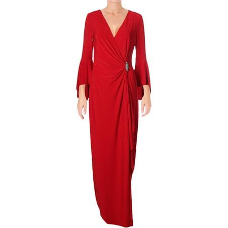 Lauren Ralph Lauren Womens Cael Embellished Bell Sleeve Evening Dress