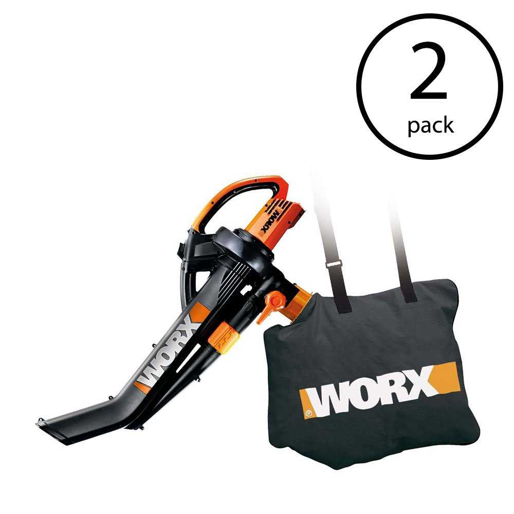 WORX Electric TriVac Blower Mulcher Vacuum & Metal Impellar Bag & Strap (2 Pack)