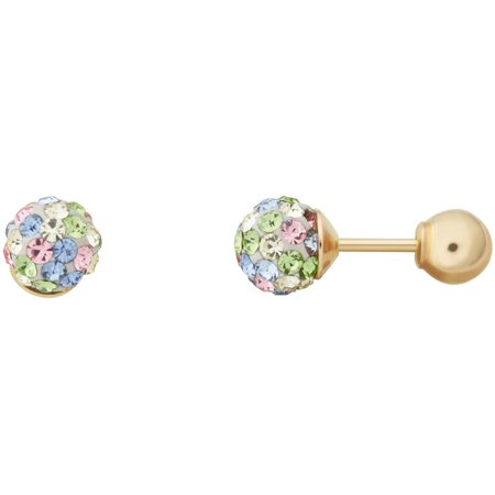 Kids' 10K Yellow Gold 4.8mm Pastel Crystal Ball/4mm Ball Stud Earrings](Kid Earrings)