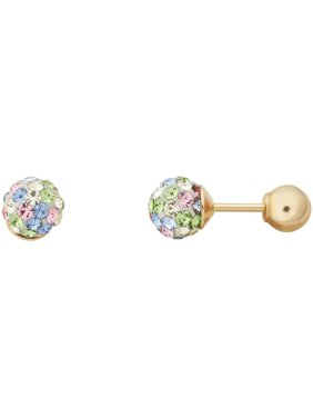 Kids' 10K Yellow Gold 4.8mm Pastel Crystal Ball/4mm Ball Stud Earrings