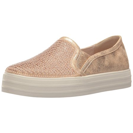 Skecher Street Women's Double up-Shiny Dancer Fashion Sneaker, Rose Gold, 7.5 M US - Discount Exotic Dancer Shoes