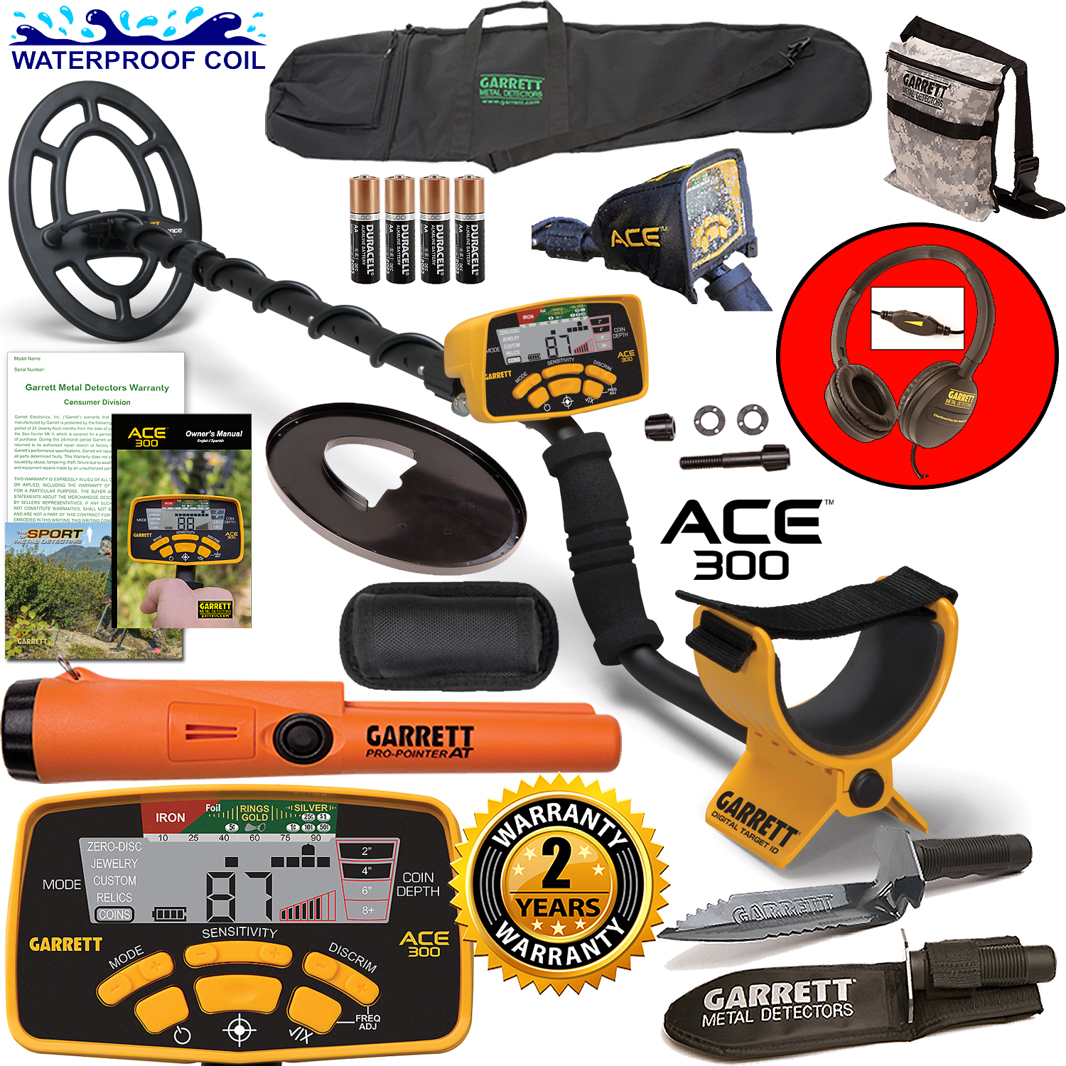 Garrett ACE 300 Metal Detector with Waterproof Coil ProPointer AT and More by