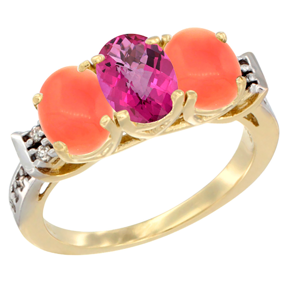 14K Yellow Gold Natural Pink Topaz & Coral Ring 3-Stone 7x5 mm Oval Diamond Accent, sizes 5 10 by WorldJewels