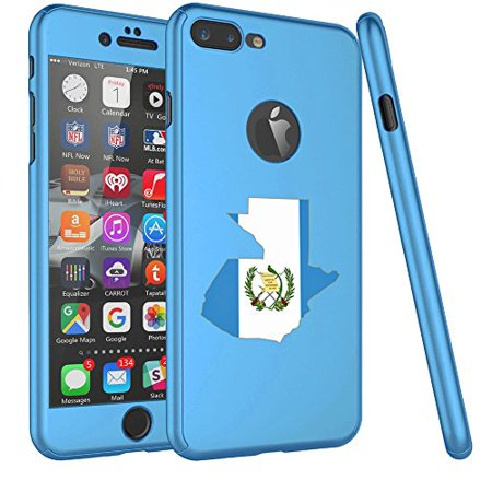 For Apple iPhone 360° Full Body Thin Slim Hard Case Cover + Tempered Glass Screen Protector Guatemala Guatemalan Flag (Light Blue For iPhone 7) (Guatemala Cover)