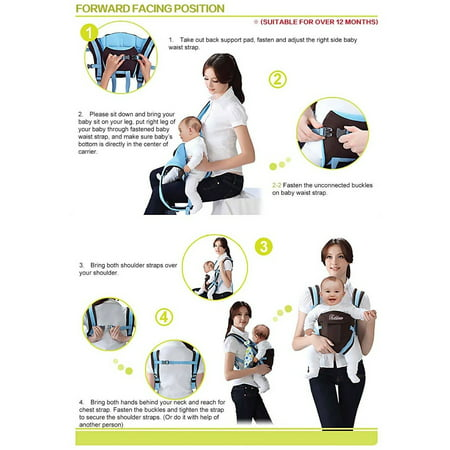 Lightweight All Carry Positions 4-Positions, 360° Ergonomic All Season Baby & Child Infant Toddler Newborn Carrier Backpack Front Back Wrap Rider Sling Soft & Breathable Cotton - image 11 of 13
