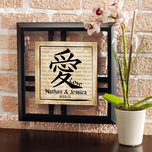 Personalized Chinese Love Symbol Framed Art with Date