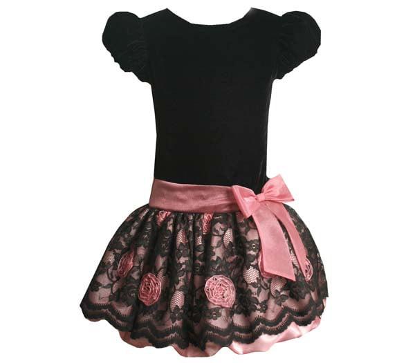 ea77dab6af4c In Fashion kids - Infant or Toddler Dress - Bonnie Jean Pink and Black Lace  Bottom Dress Size 2T - Walmart.com