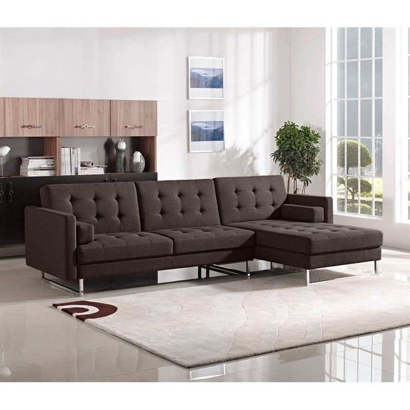 Diamond Sofa Opus Right Convertible Chaise Sectional In Chocolate