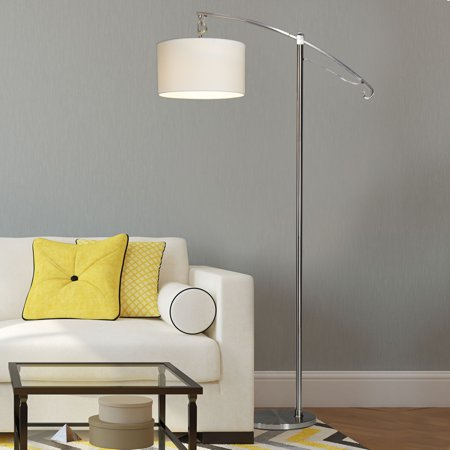 arc floor lamp with shade bulb modern contemporary light for living. Black Bedroom Furniture Sets. Home Design Ideas