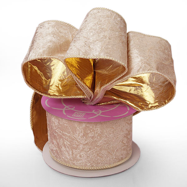"1 1/2"" X 25 Yards Gold Blocked Sheer Metallic Ribbon  by Paper Mart"