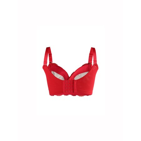 Women Floral Lace Front Scalloped Push Up Thin Cup Wireless Bra Red 85C - image 1 of 6