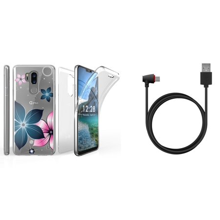 Tri Max LG G7 ThinQ Case Bundle with Ultra Slim Full Body Cover Case with Screen Protector (Mystic Flowers) with 90 Degree Right Angle USB Type-C Cable (4 Feet) and Atom Cloth for LG G7 ThinQ (Screen 90 Degree Angle)