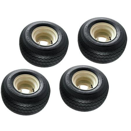 4-Pk Club Car Beige Tan Golf Cart Tires Wheels 18X8.50-8 18 x 8.5 x 8 EZGO 4