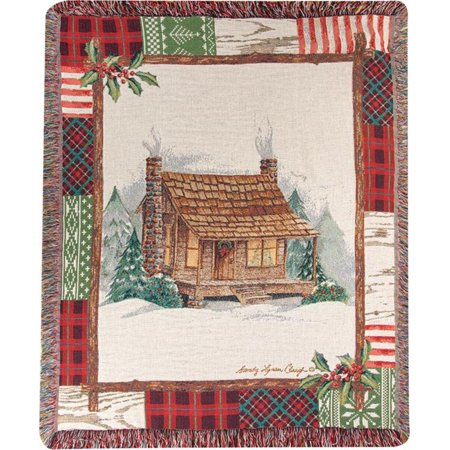 Christmas Cabin Patchwork Border Throw Blanket 60 X 50