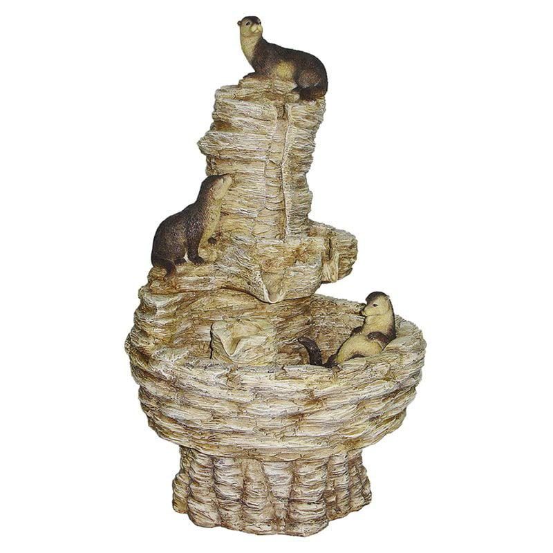 Design Toscano Tres Amigos Playful Otter Cascading Garden Outdoor Fountain by Design Toscano