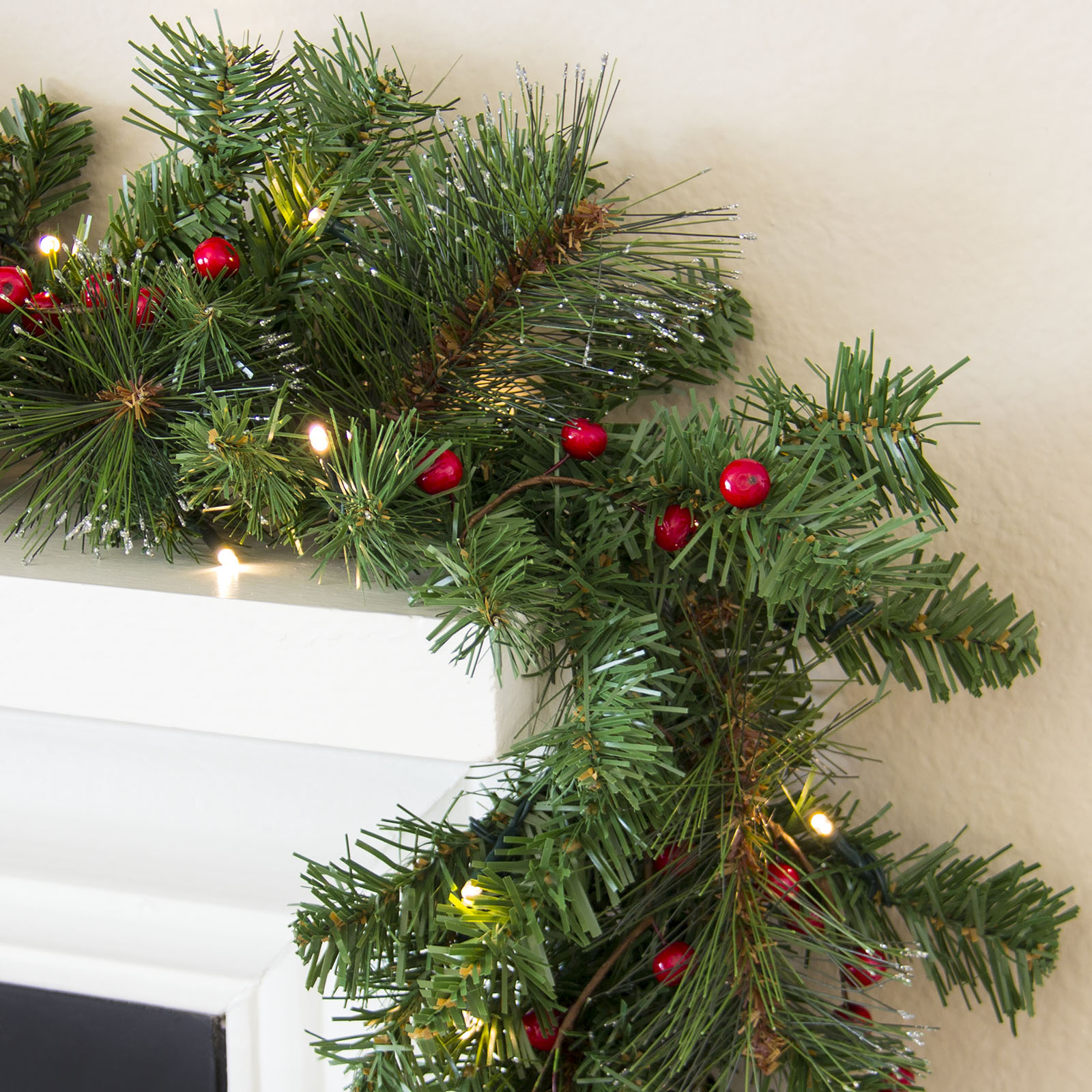 best choice products 9ft pre lit christmas garland w 50 led lights silver bristles pine cones berries green walmartcom - Green Christmas Garland