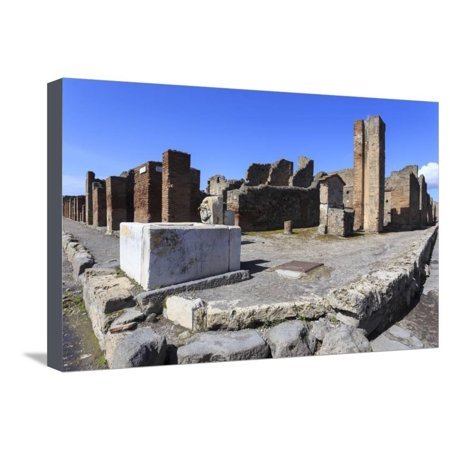 Street Corner with Public Fountain, Roman Ruins of Pompeii, Campania, Italy Stretched Canvas Print Wall Art By Eleanor Scriven