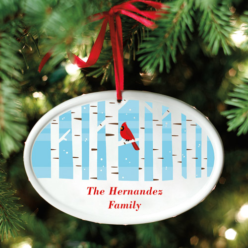 Personalized Winter Cardinal Oval Ornament