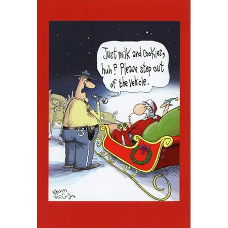 Nobleworks Santa Just Milk and Cookies Glen McCoy Humorous / Funny Christmas Card - Milk And Cookies Party